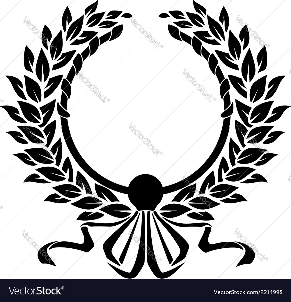 Black and white double circular foliate wreath vector | Price: 1 Credit (USD $1)