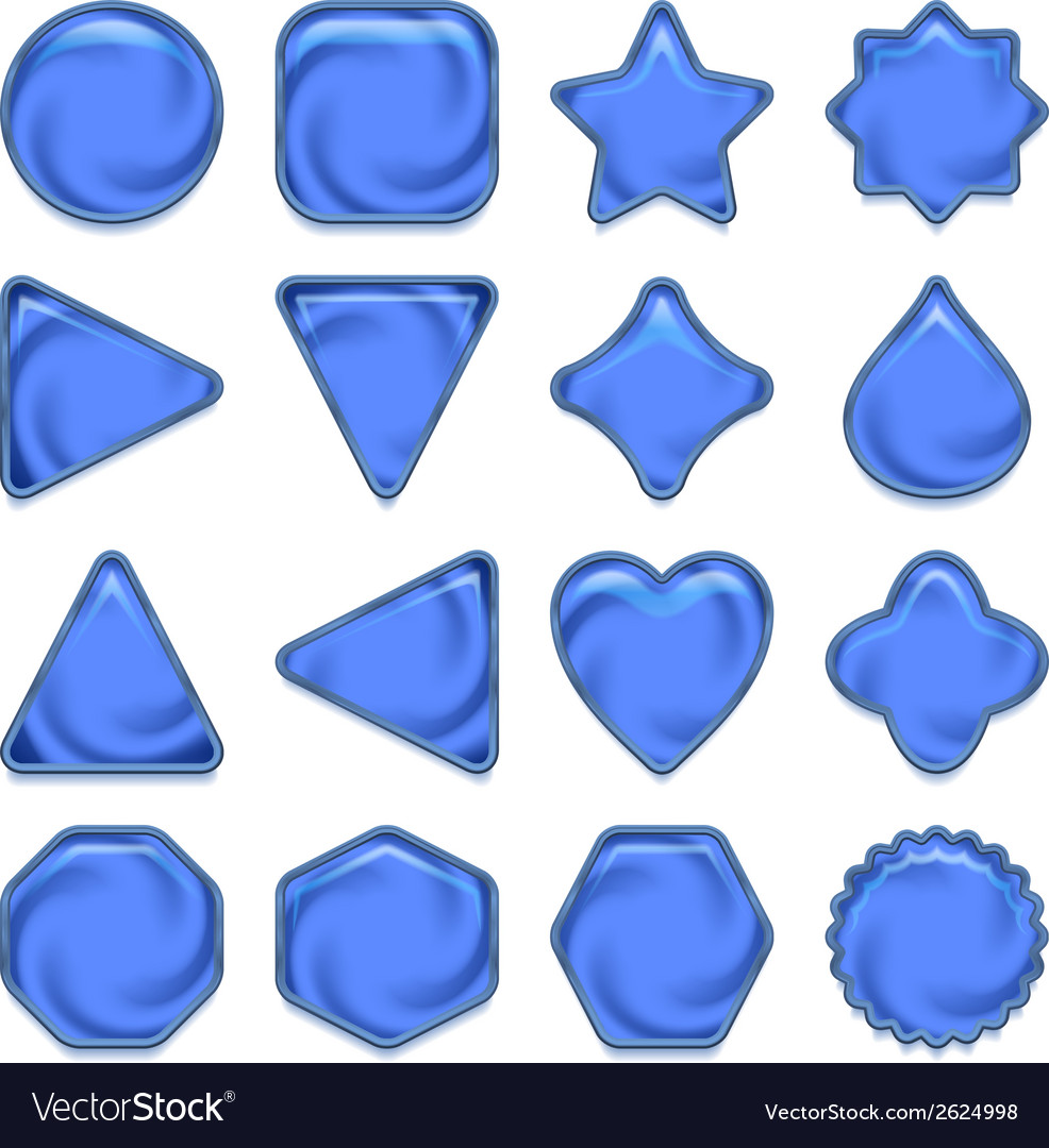 Blue glass buttons set vector | Price: 1 Credit (USD $1)