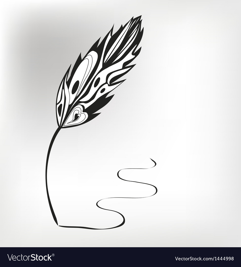 Feather calligraphic pen background vector | Price: 1 Credit (USD $1)