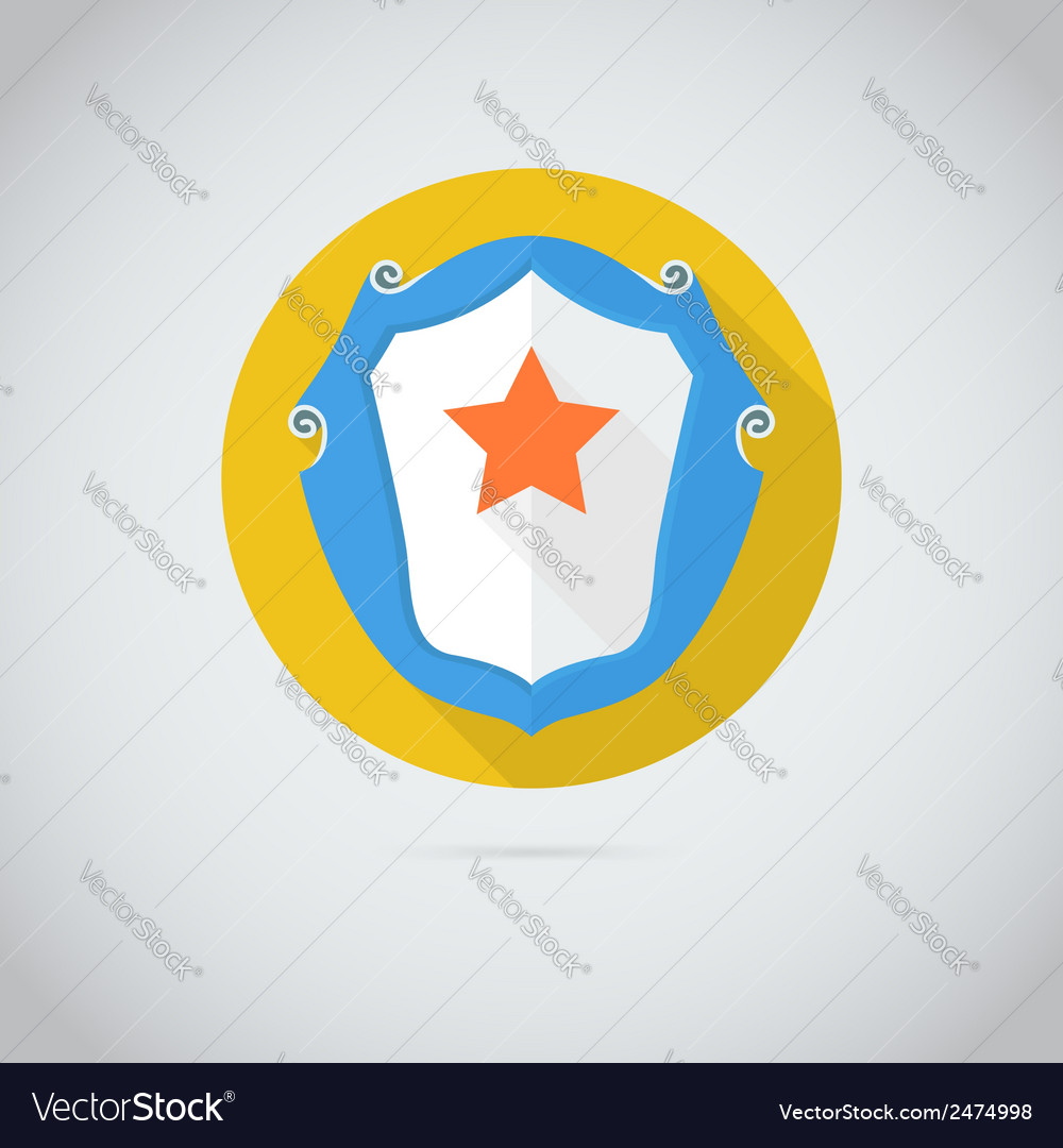 Flat icon with red star vector | Price: 1 Credit (USD $1)