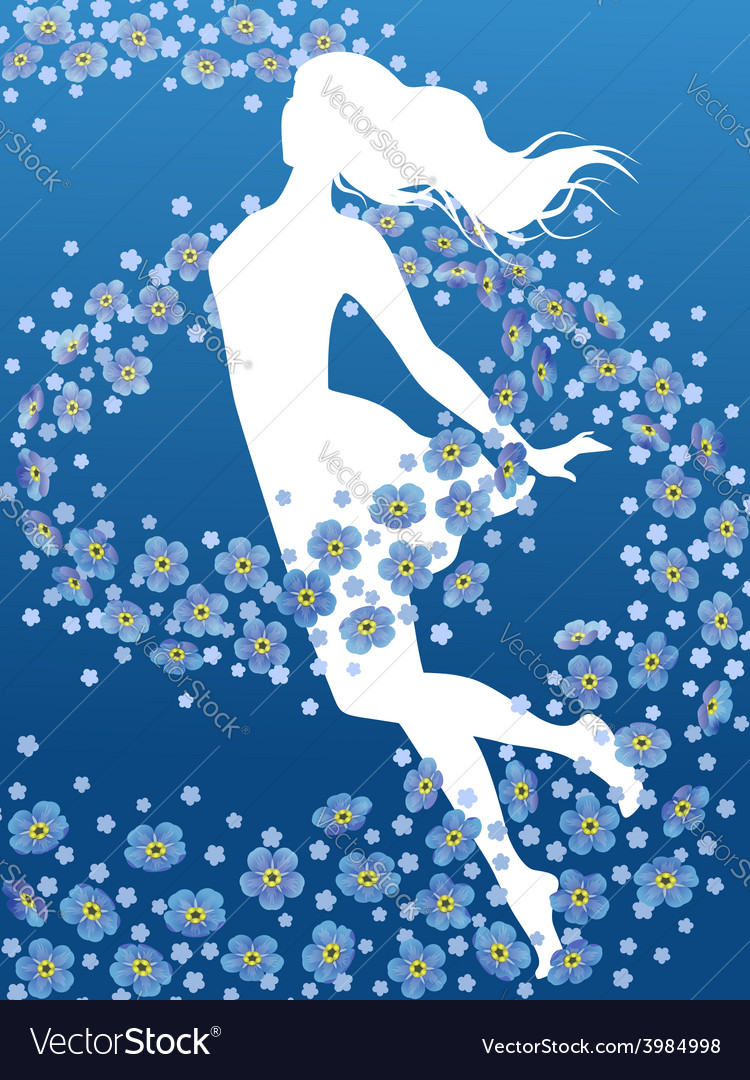 Forget-me-not flowers vector | Price: 1 Credit (USD $1)