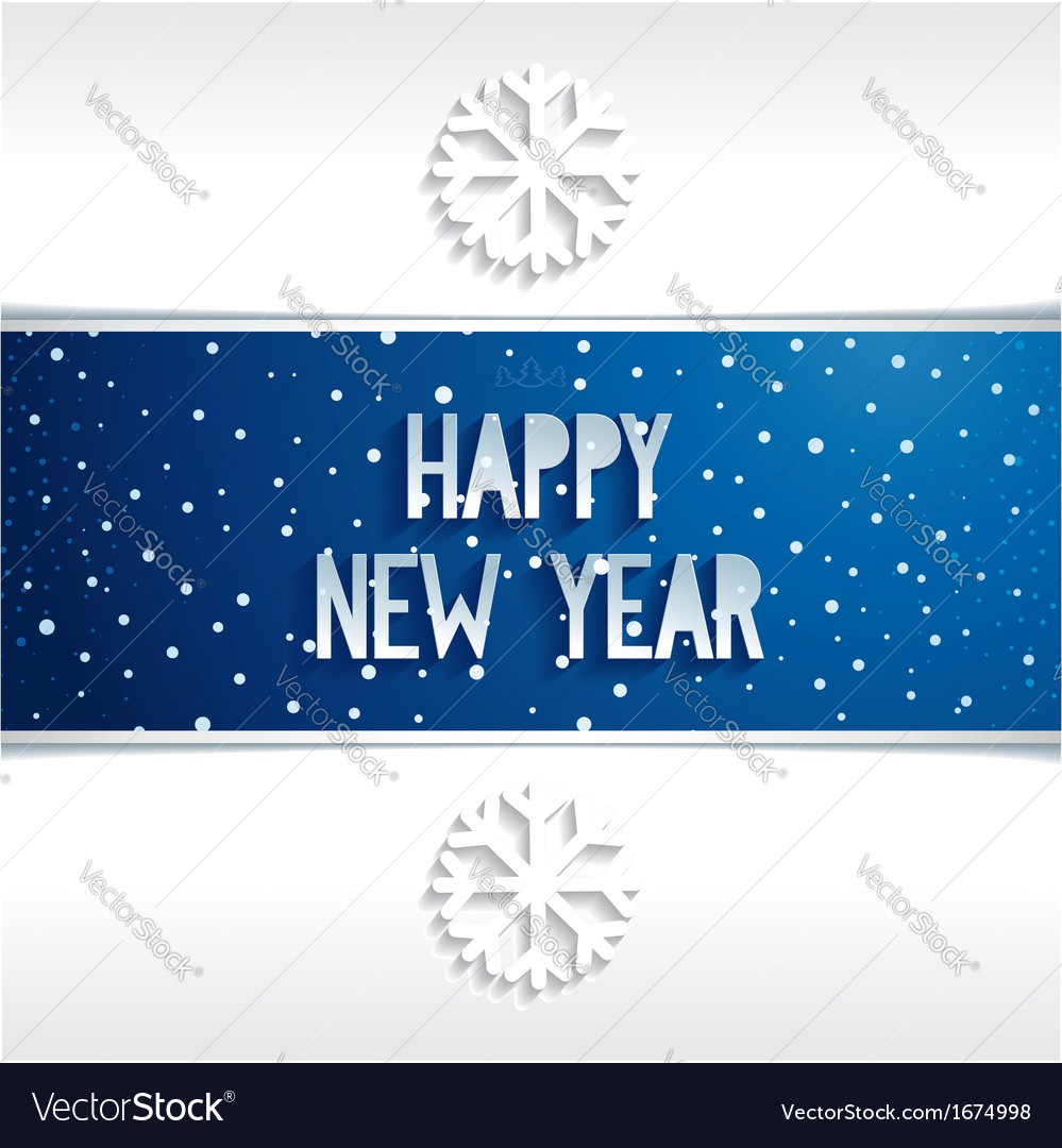 Happy new year banner volume lettering on blue bac vector | Price: 1 Credit (USD $1)