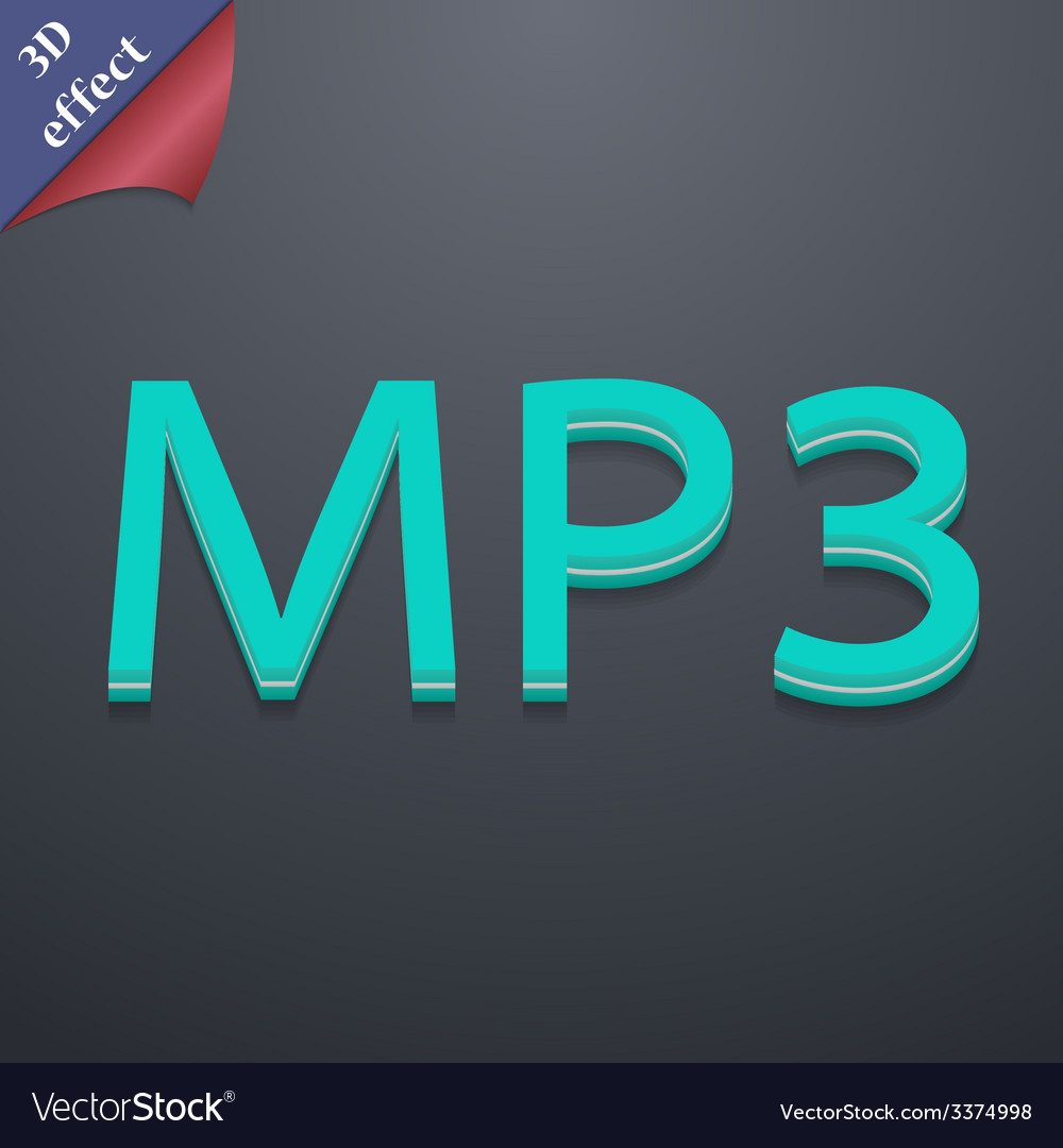 Mp3 music format icon symbol 3d style trendy vector | Price: 1 Credit (USD $1)