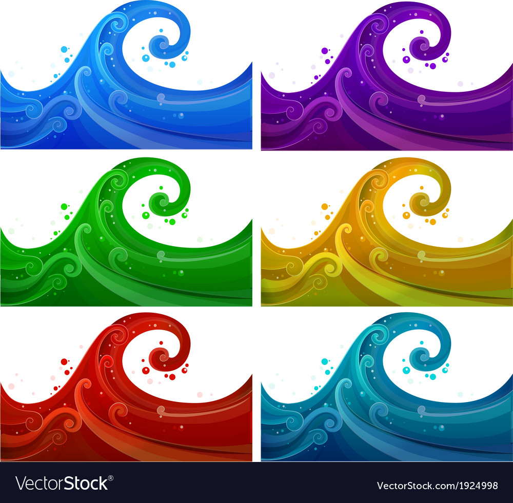 Six colorful waves vector | Price: 1 Credit (USD $1)