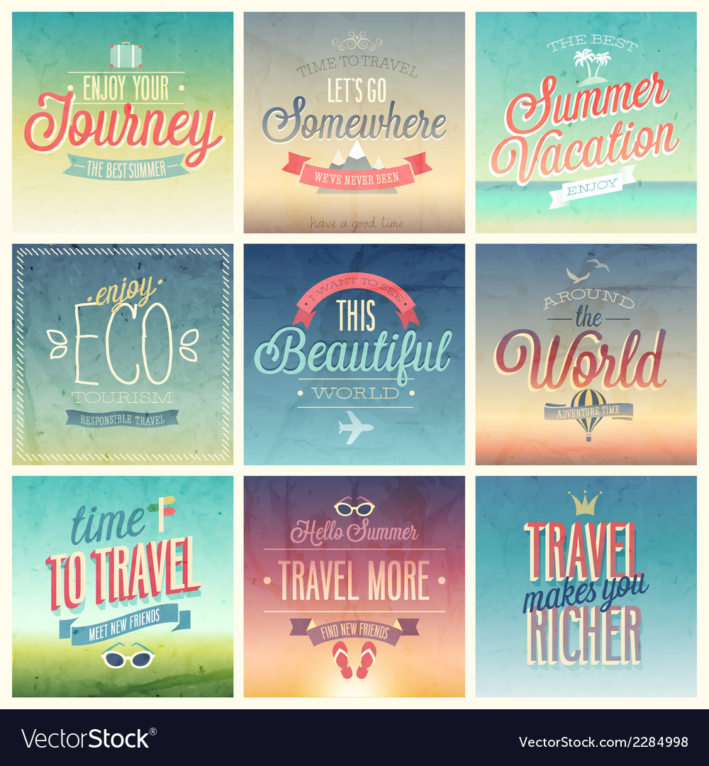 Travel set vintage vector | Price: 1 Credit (USD $1)