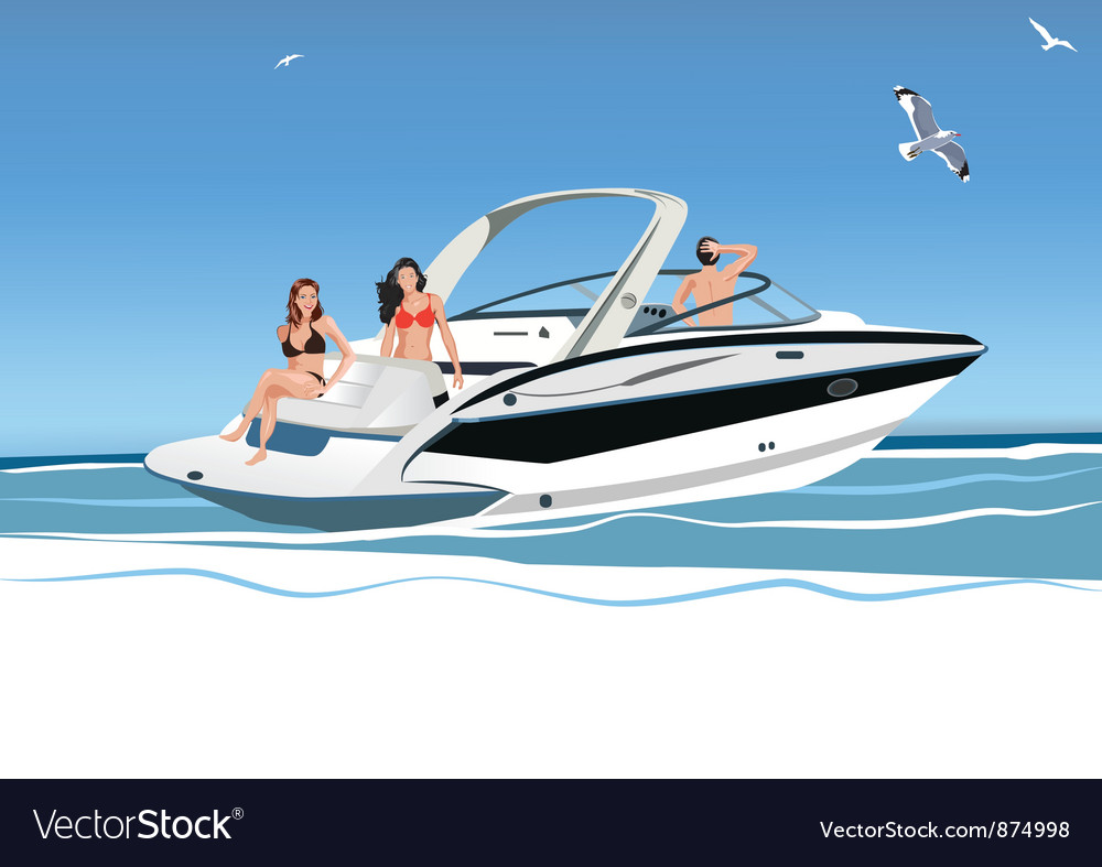 Young people on a yacht vector | Price: 1 Credit (USD $1)
