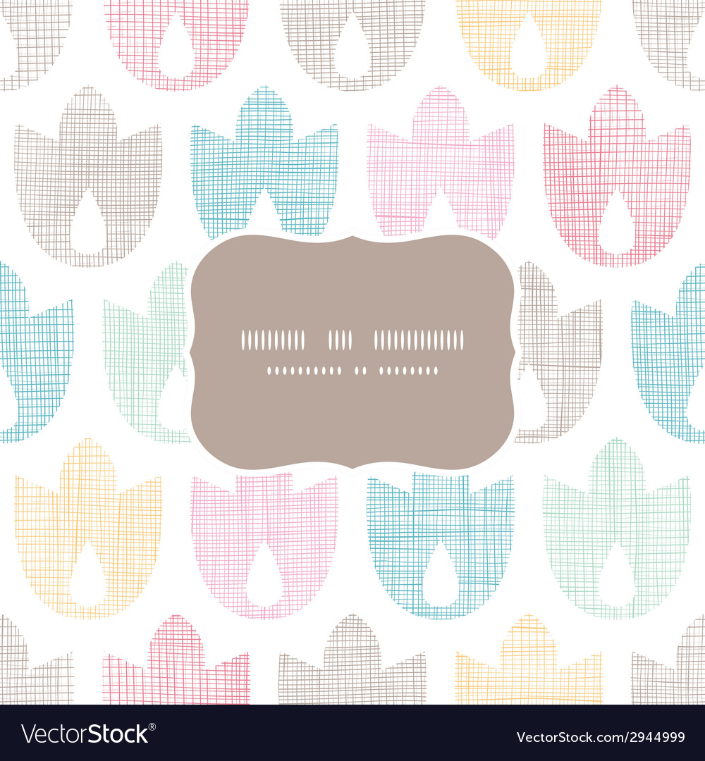 Abstract textile geometric tulips colorful frame vector | Price: 1 Credit (USD $1)