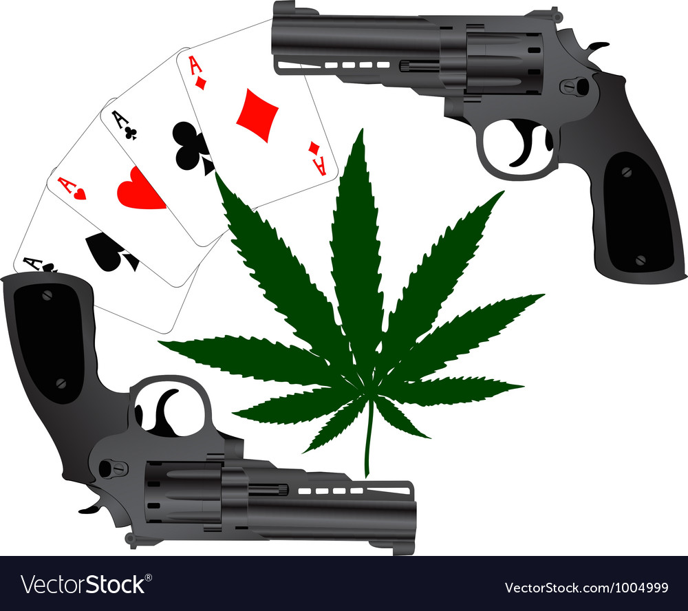 Cards hemp and two pistols vector | Price: 1 Credit (USD $1)
