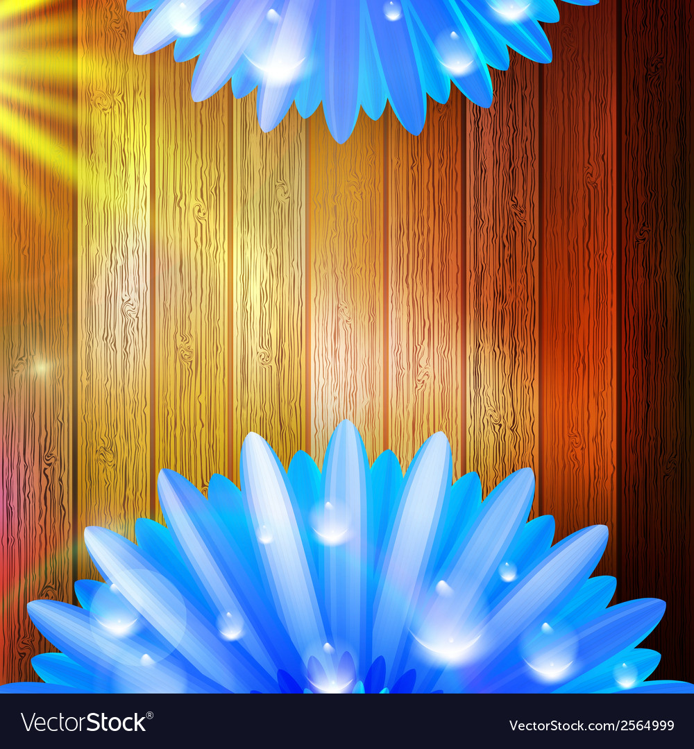 Flower with dew on wood plus eps10 vector | Price: 1 Credit (USD $1)