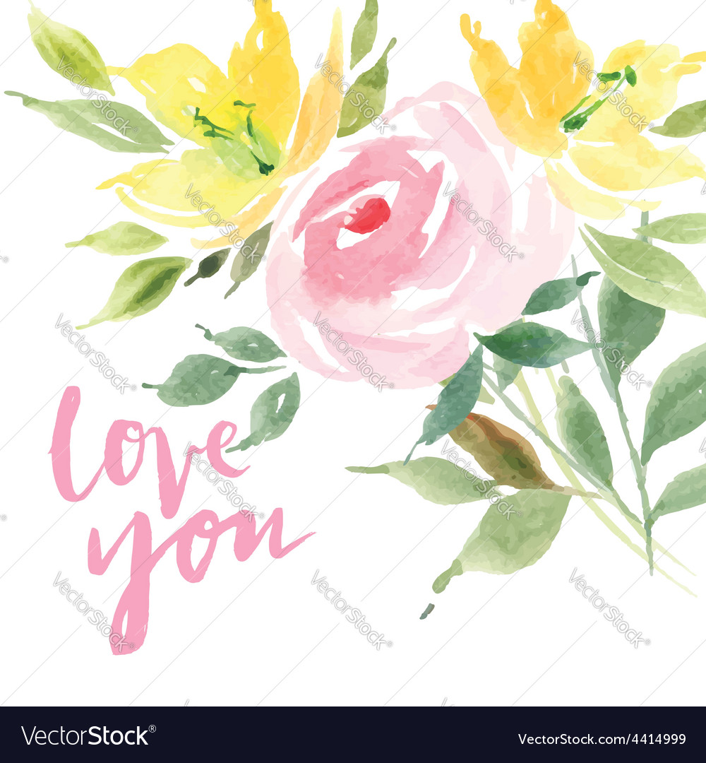 Greeting card flowers watercolor vector | Price: 1 Credit (USD $1)