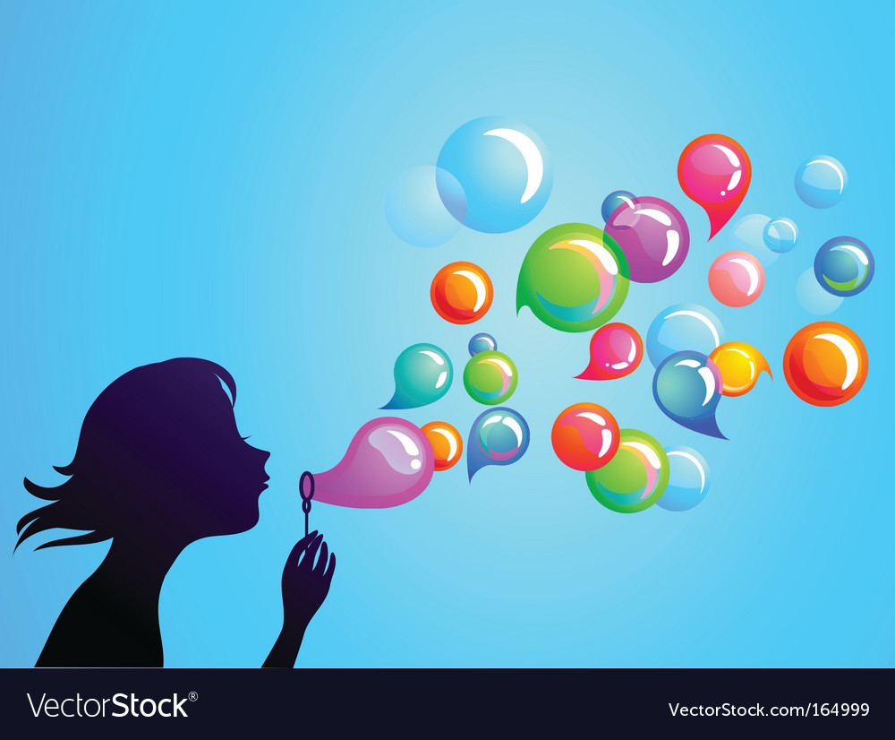 Kids playing girl blowing bubbles vector | Price: 1 Credit (USD $1)