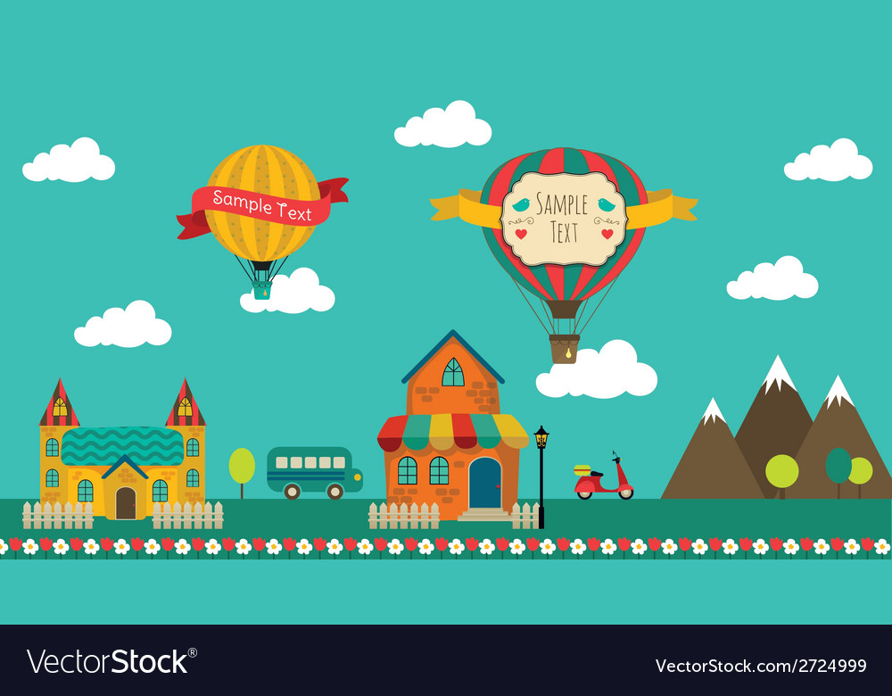 Retro town design vector | Price: 1 Credit (USD $1)