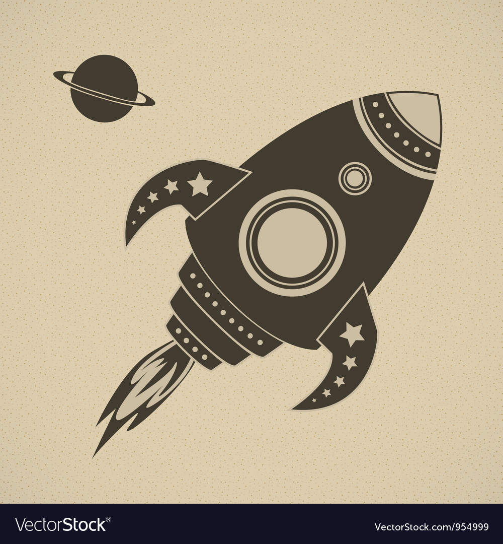 Vintage rocket in space vector | Price: 1 Credit (USD $1)