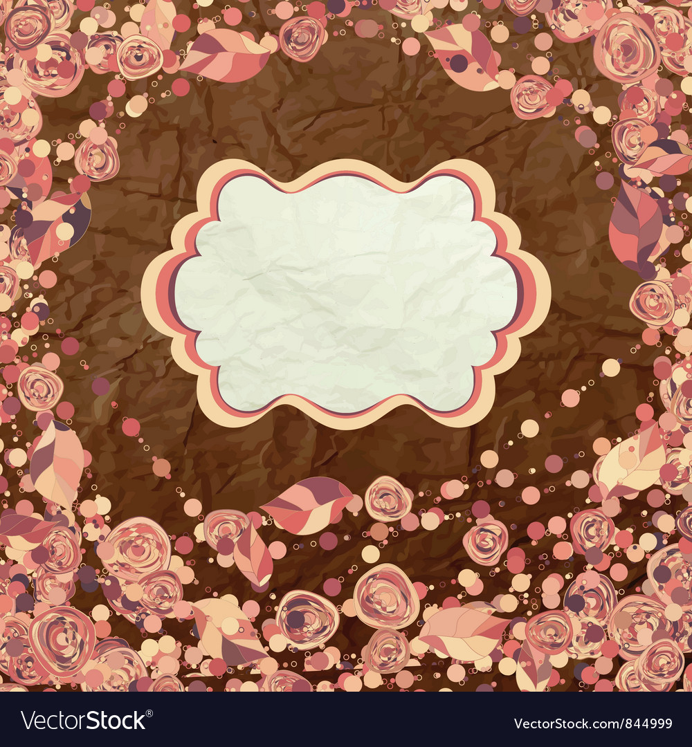Vintage rose card vector | Price: 1 Credit (USD $1)