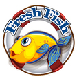 A fresh fish label with an image of a fish vector