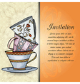 Invitation retro hand drawn design card vector