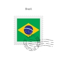 Brazil flag postage stamp vector