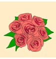 Pink rose with leaves vector