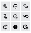 Black clock icon set vector
