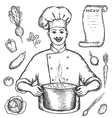 The main chef is holding a pot of vegetable soup vector