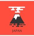 Fuji mountain with big red sun vector