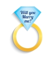 Engagement ring with diamond will you marry me vector