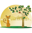 Cat with bird in tree vector