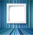 Empty room with photo frame on striped wallpaper vector