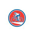 Cyclist riding mountain bike circle retro vector