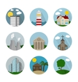 Flat icon circle buildings vector