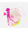 Abstract fashion girl shopping - summer sale vector
