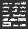 Set icons of car and bus vector