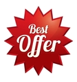 Best offer tag  red sticker icon vector