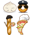 Food set chinese bun french bread pizza chef vector