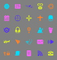 Air transport related color icons on gray vector