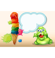 A scary monster beside the giant icecream vector