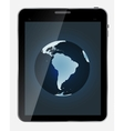 Abstract design realistic tablet with world map vector