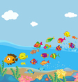 Family of funny fish under the sea vector