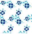 Seamless floral pattern blue flowers leaves vector