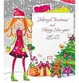 Christmas fashion girl 1 vector