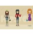 Funny cartoon hipster character shopping business vector