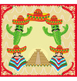 Mexican frame with pyramid cactus and sombrero vector