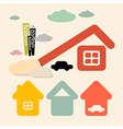 Houses and cars symbols set vector