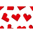 Pixel hearts seamless background pattern vector