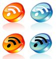 3d rss feed icon vector