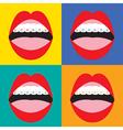 Braces corrective orthodontics on colorful vector