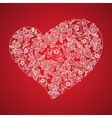 Red valentine heart in floral style isolated on vector