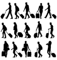 Black silhouettes travelers with suitcases on vector