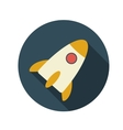 Flat design concept rocket with long shadow vector
