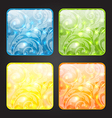 Set four seasonal icon floral colorful background vector